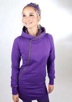 Entdecke lässige und festliche Kleider: MEKO Lofi Kleid Damen Lila Kapuze Punkte made by meko Store via DaWanda.com