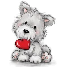 dessin trop mignon d un chien, comment dessine un chien ay crayon qui tient un coeur rouge dans sa bouche Rock Painting Ideas Easy, Painting For Kids, Baby Animals, Cute Animals, Cartoon Heart, Teddy Bear Pictures, Valentines Art, Cute Animal Drawings, Tatty Teddy