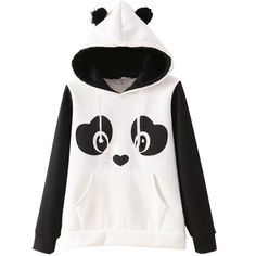 Black Cute Panda Ladies Printed Fleece Casual Hoodie ($38) ❤ liked on Polyvore featuring tops, hoodies, jackets, shirts, sweaters, black, hoodie shirt, panda hoodies, hooded pullover and black top