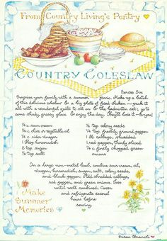 Country Coleslaw, Susan Branch for Country Living Magazine Country Coleslaw, Susan Branch for Country Living Magazine Old Recipes, Vintage Recipes, Jelly Recipes, Cooking Tips, Cooking Recipes, Chef Recipes, Dinner Recipes, Branch Art, Country Living Magazine