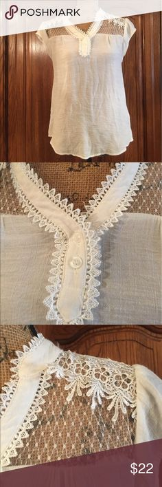 """MINE Crocheted Lace Top Blouse EUC size large but runs smaller. Made of 63% rayon 37% polyester. Dry clean only. This garment is Semi sheer. It measures approximately 17""""flat underarm to underarm and measures approximately 25""""long measured from shoulder to hem Mine Tops Blouses"""