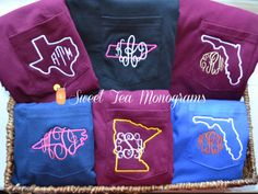 State pride monogram tshirts @Annslin Hall Hall Hall  --- Wells and I ordered these from this co. for ourselves and gifts. They're great!