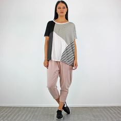 PinkCad Black & White Patch Stripe & Spot Oversized Top £18.00 Available Instore And Online www.pinkcadillac.co.uk