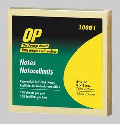 OP Brand Self Adhesive Note Pads