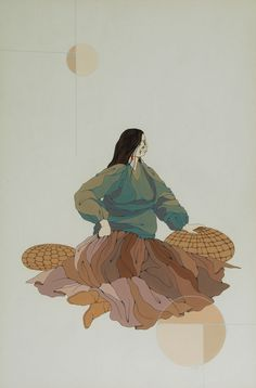 Female with Baskets by Diane O'Leary (1935 – 2013) Opeche-Nah-Se,Comanche
