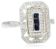 Amazon.com: S&G Sterling Silver and 14k Yellow Gold, Blue Sapphire, and Diamond-Accent Art Deco-Style Ring (0.12 cttw, I-J Color, I3 Clarity): Jewelry