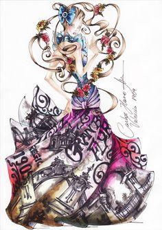 """CARLOS HARO COLECCION """"VALENCIA 1909"""" 2009  #carlosharo #fashion #glamour #hautecouture #illustrations"""