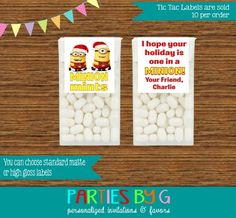 Christmas Holiday Minions Tic Tac Labels Party Favors Personalized