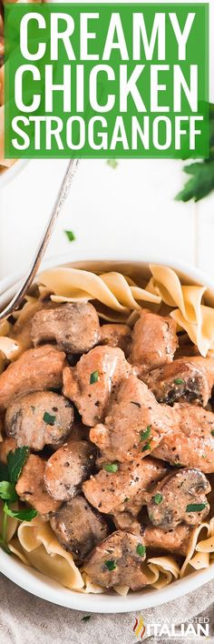 Creamy Chicken Stroganoff  is a quick and easy comforting pasta dish recipe with chicken and mushrooms, all robed in a creamy gravy, ready in just 25 minutes.