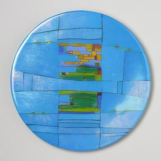Turquoise+Window+Round by Lynn+Latimer: Art+Glass+Wall+Art available at www.artfulhome.com