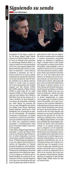 Artículo sobre Miguel Ángel Toledo en 'Diario de Avisos'. 18 de mayo de 2014.