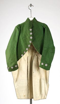 Coat Date: late 18th century Culture: British Medium: silk Dimensions: [no dimensions available] Credit Line: Purchase, Irene Lewisohn Bequest, 1970 Accession Number: 1970.161.2