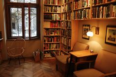 Massolit Cafe and Bookstore is the best selection of English books in Central Europe and a part of our list for sites associated with the UNESCO City of Literature List Krakow I Poland I UNESCO Bookshelves, Bookcase, Travel Through Europe, English Book, Central Europe, Reading Room, Krakow, Dining Area, Nook