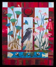2014 Quilt Expo Quilt Contest, 2nd Place, Category 9, Wall Quilts,Machine Quilted - Pictorial: Garden of the Sun God, Ann Fahl, Mount Pleasant, Wis., www.quitexpo.com