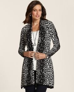 Chico's Graphic Cheetah Alexa Sweatercoat 																 												Bold Stripe Nola Duster #chicos