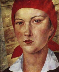Kuzma Petrov-Vodkin (Russian artist, 1878-1939) Girl in red scarf (worker), 1925