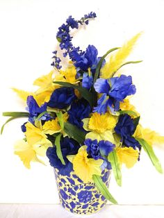 Spring Silk Floral Arrangement Table Or Wall Decor Bright Daffodils & Irises #CustomDesignedHandmade