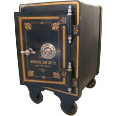Antique Industrial Cast Iron Safe with Cabinet--Taller one for bedside table or end table Industrial Design Furniture, Antique Furniture, Industrial Living, Antique Safe, Safe Vault, 2017 Decor, Vault Doors, Mahogany Cabinets, Inexpensive Furniture