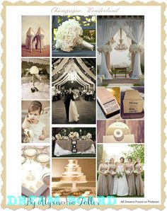 """This weeks dream board (brought to you by pinterest and yours truly) is a """"Champagne Wonderland Theme"""";soft neutrals matched with gorgeous drapery, gold sparkles and pearls!"""