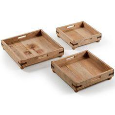 """Bandejas de madeira rústicas do vintage feitos à mão """"Três em um"""""""