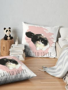"""""""Calico Cat Lover"""" Floor Pillow by MsD7   Redbubble Floor Pillows, Throw Pillows, Fluffy Cat, Cat Design, Cat Lovers, Vibrant, Pets, Artist, Toss Pillows"""