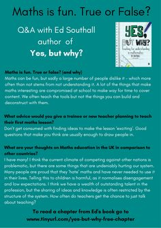 Getting the right answers in maths is only half the problem. Understanding why what you're doing works is the part that often stumps students and teachers alike. Does maths feels like a collection of random rules and steps that somehow lead you to an answer? Don't worry you're not alone.   Take a look at this must-read book for those training to teach mathematics, or current teachers wishing to deepen their mathematical understanding.