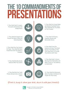 Ten Commandments of Presentations - Free Tool by We Are Visual by Nadine Hanafi via slideshare Digital Communication, Effective Communication, Communication Skills, Interpersonal Communication, Effective Learning, Business Management, Business Planning, Public Speaking Tips, Public Speaking Activities