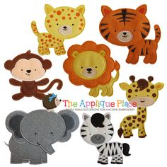 Ensemble de 7 Safari amis animaux Machine motifs appliques de broderie