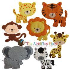 Set of 7 Safari Friends Animals Machine Embroidery Applique Designs