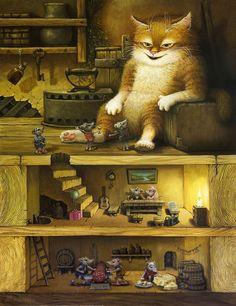 Art of Alexander Maskaev Illustrations, Illustration Art, Art Japonais, Whimsical Art, Love Art, Cat Art, Fantasy Art, Fairy Tales, Concept Art