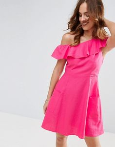 ASOS One Shoulder Ruffle Front Mini Sundress