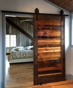 love this for in the houseDIY:: Sliding Barn Door & Hardware- Easier than you think, & all for less than $100 ! Wooden Sliding Doors, Wooden Barn Doors, Reclaimed Wood Door, Hanging Barn Doors, Wooden Door Design, Reclaimed Lumber, Sliding Wall, Barn Wood, Reclaimed Wood Furniture, Internal Wooden Doors, Barn Door Rollers, Sliding Doors, Woodworking, Bedrooms, Home Decor, Ideas, Cave, Windows, Rustic Homes, Carpentry