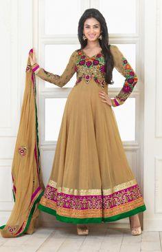 Cream Color Georgette based Semi Stitch Dress Material - JustKartIt