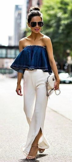 #summer #outfits Love It // Denim Off The Shoulder Top + White Pants