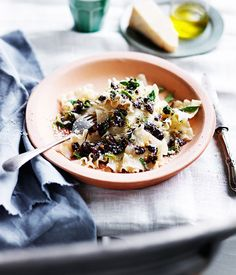 Tacconi with Ligurian Olives, Pine Nuts and Oregano Recipe  | Gourmet Traveller #pasta #olives #Italian_recipes