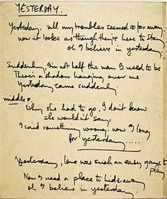 The Beatles biographer reveals exclusive original manuscripts of some of the best pop songs ever written  - Original lyrics for Yesterday