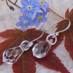 Beautiful Faceted Crystal Drop Earrings in Sterling Silver £14.50
