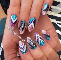 Wedding Nails-A Guide To The Perfect Manicure – Page 9714084063 – NaiLovely Gorgeous Nails, Pretty Nails, Dream Catcher Nails, Best Acrylic Nails, Dope Nails, Halloween Nails, Halloween Nail Designs, Creative Nails, Glitter Nails