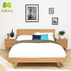 scandinavian bed | Solid wood bed modern Japanese Mediterranean minimalist Scandinavian ...