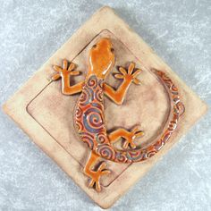 Gecko Tile 4 x 4 inch Ceramic Stoneware Lizard by northfirestudio. via Etsy.