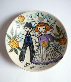Laila Zink Dish Plate Kupittaan Savi Bridal by DancesWithVases Ceramic Artists, Bridal Showers, Scandinavian Design, Designers, Dish, Mid Century, Pottery, Ceramics, Retro