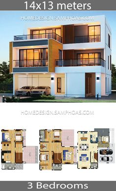 House plans idea with 3 bedrooms - Home Ideas Modern House Floor Plans, 3d House Plans, Duplex House Plans, Contemporary House Plans, 2 Storey House Design, Duplex House Design, Simple House Design, Modern House Design, Container Home Designs