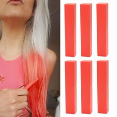 Bright Red Hair Dye | Valentine's Red Hair Color | VIVID RED Hair Dye | With Shades of Red Set of 6 Temporary Hair Chalk | Color your Hair Hot Red in seconds with temporary HairChalk -- For more information, visit image link.
