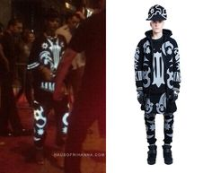 Rihanna in KTZ menswear.