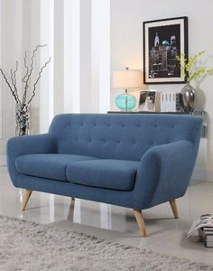 This mid-century 3 seater sofa is just what you need to give your living room or bedroom a pop of color. This fun design is to give your traditional rooms a more modern look. Featuring hardwood frame and legs, this sofa offers a tufted design. Mid Century Modern Sofa, Mid Century Sofa, Mid Century Modern Furniture, Contemporary Furniture, Luxury Furniture, Leather Sectional Sofas, Loveseat Sofa, Upholstered Sofa, Sofa Chair