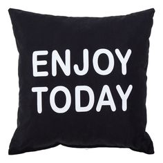 PODUSZKA CLEO 40/40 ENJOY TODAY BLACK&WHITE | Salony Agata Throw Pillows, Black And White, Black White, Blanco Y Negro, Cushions, Black N White, Decorative Pillows, Decor Pillows, Pillows