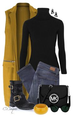 """Mustard Sleeveless Coat"" by ccroquer ❤ liked on Polyvore featuring Acne Studios, Paige Denim, Jimmy Choo, MICHAEL Michael Kors, KamaliKulture, Miss Selfridge and Lisa August"