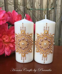 Set of 2 Decorative Candles Boho Wedding Spring Decor Candle Favors, Candle Centerpieces, Diy Candles Video, Diy Rose, Henna Candles, Candle Art, Wedding Unity Candles, Candle Accessories, Wedding Party Favors