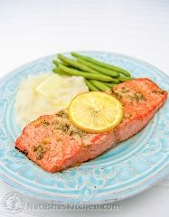http://natashaskitchen.com/2012/06/08/baked-salmon-with-garlic-and-dijon/