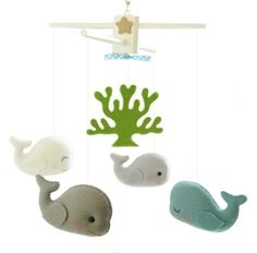 good idea for boy's bathroom- maybe some cute little whale plushes like these to put on a shelf (instead of on a mobile)